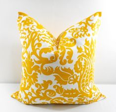Yellow Pillow Cover. Amsterdam Corn yellow and White. Sofa Pillow cover. Sham Pillow. Throw pillow cover. Euro pillow case. Select size by TwistedBobbin, $9.00 USD