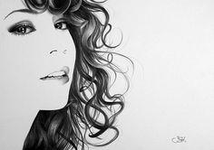 Mariah Carey Pencil Drawing Fine Art Portrait by IleanaHunter, $14.99