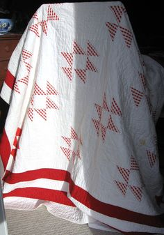 Antique Red White Quilt 1930s Old Maid's Puzzle Hand Quilted Depression Era Brackman 1689a. $175.00, via Etsy.