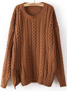 Coffee Long Sleeve Split Cable Knit Sweater - Sheinside.com