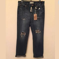 """Madewell Boyfriend Torn-Up Edition Jeans. Size 27 Madewell Boyfriend Torn-Up Edition Denim jeans, Size 27. Color: Joey wash.  Material is 100% cotton.  Size up for a looser fit and sits at the hips. Measurements:  Front rise 9"""".  Inseam 28"""" but can be rolled and measured at 26"""". Leg opening at 13"""".  Purchased from Madewell and never wore. Brand new with tags attached.  Smoke free and pet free home. Madewell Jeans Boyfriend"""