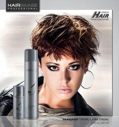 HAARSPRAY strong / extra strong :: mit UV-Filter Unsere 'Hair Image Professional' Haarsprays mit dem Diffusor geben der Frisur eine starke bzw. extra starke Festigung und verleihen dem Haar einen schönen Glanz. Nach der Anwendung lassen sich die Haare leicht kämmen und es verbleiben keine Spuren. Der enthaltene UV-Filter schützt die Haare vor schädlichen Sonnenstrahlen. Erhältlich in 100 ml und 500 ml. - Bild aus dem Frisurenbuch YOUNG FASHION by Studio BG for Varga Hair Int.