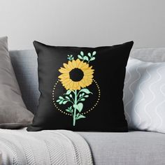 'Sunflower ' Throw Pillow by pixelpixelpixel Planting Sunflowers, My Arts, Throw Pillows, Art Prints, Printed, Awesome, Shop, Stuff To Buy, Products