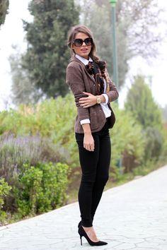Scarf, skinny pants, jacket