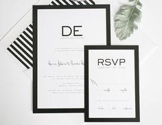 Chic black white striped wedding invitations
