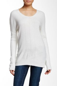 """- Scoop neck  - Long sleeves  - Knit construction  - Approx. 27"""" length  - Imported  -Ivory Dolman Sleeve Sweater by Love Token. Clothing New Jersey"""