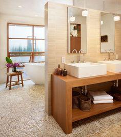 Kavicsburkolat padló mosdópult szögletes mosdó bézs falburkolat