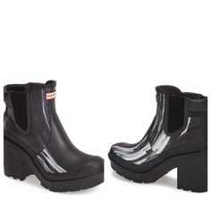 """•Rare Hunter Nightfall block Chealse boots• A Chelsea-cut version of Hunter's Original boot, in the popular and sold out """"Nighfall"""" color, is styled with a smooth matte finish and set on a chunky block heel. Quick-dry lining and a cushy footbed lend superior comfort to this premium rubber rain boot, while a signature grippy sole provides excellent traction. 3 1/2"""" heel; 1"""" platform.4 1/4"""" boot shaft height. Elastic side goring. Rubber upper/textile lining/rubber sole. Hunter Boots Shoes…"""