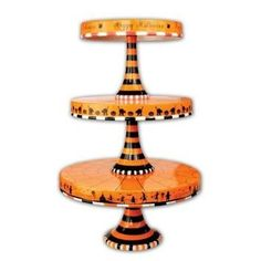 Glitterville Halloween Stacking Cupcake or Cake Pedestal Stands / Plates, Set of 3 Sizes, Ceramic