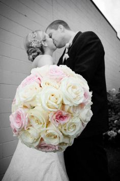 Bridal bouquet - cream roses and soft pink garden roses. Flowers by Allison Enzenbacher https://www.facebook.com/weddingflowersbyallison Photo by Abigail Rachel Photography https://www.facebook.com/pages/Abigail-Rachel-Photography/78827885020