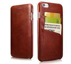 iCarer iPhone 6/6S Curved Edge Vintage Card Slot Series Real Cowhide Leather Case