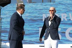 "Pitbull Photos - Frank Del Rio (L) and Armando Christian Perez ""Pitbull"" onstage at the Christening Ceremony for Norwegian Cruise Line's newest ship Norwegian Escape at Port Miami on November 9, 2015 in Miami, Florida. - Norwegian Escape Christening Ceremony"