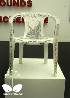 Scrimshaw takes these boring white, plastic lawn chairs and turns them into art.