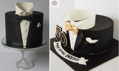 tuxedo cakes by Cakes & Biscuits by Lisa left, Arty Crafty Cakes right