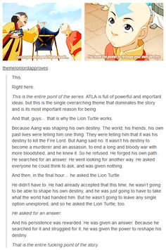woah, this gave me chills. Like the Lion Turtle only came in the last few moments of A:TLA, if that conversation had not happened. Things could have gone a lot differently.