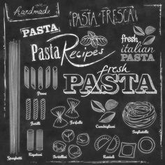 Pasta and chalk typography on a chalkboard vector image on VectorStock