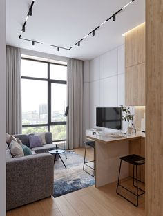 Small apartment interior - Interior design in white and wood, 25 ideas that will be of great help to implement in your home – Small apartment interior Modern Small Apartment Design, Condo Interior Design, Small Apartment Interior, Interior Design Minimalist, Flat Interior, Small Apartment Decorating, Apartment Interior Design, Small Apartments, Interior Modern