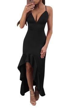 Black Spaghetti Straps V Neck Backless Ruffle Dress fba815072
