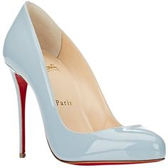 Pre-owned Christian Louboutin Dorissima 100 Gray Patent Leather Size... ($750) ❤ liked on Polyvore featuring shoes, baby blue, grey patent shoes, christian louboutin, patent shoes, baby blue shoes and grey shoes