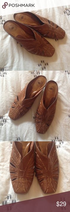 Nurture Lafayette embroidered leather mules 6 Beautiful pair of Lafayette slip on leather shoes by Nurture. Small heel. Excellent condition. Embroidered details on the uppers. A nice, warm brown color. Excellent condition! Marked as a 6M. Nurture Shoes