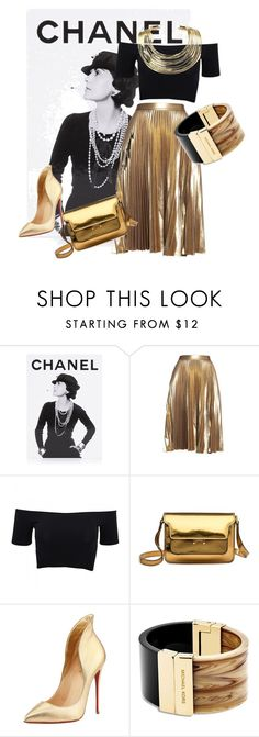 """""""the black gold chic"""" by vaishnavilal on Polyvore featuring Assouline Publishing, A.L.C., American Apparel, Marni, Christian Louboutin, Michael Kors and Bisjoux"""