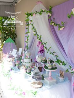 We brought the enchanting world of fairies on the dessert table for Aurelia's fairy woodland birthday party. Rapunzel Birthday Party, Fairy Birthday Party, First Birthday Parties, First Birthdays, Tinkerbell Party Theme, Birthday Ideas, Tangled Party, Princess Birthday, 5th Birthday