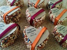 100 petite bird seed hearts with personalized tag, birdseed wedding favor, love birds on Etsy, $100.00