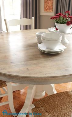 Kitchen table set makeover with Driftwood stained top.