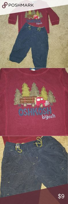 Osh Kosh B'gosh 12M outfit Perfect gently used condition. No wear, tear, stains etc. The shirt is thicker, 100% cotton. The cargo pants have a cloth lining for extra warmth as well, along with draw string elastic waist. Osh Kosh Matching Sets