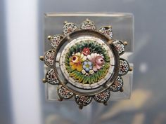 Antique Micro Mosaic brooch in the shape of a flower head, Italy, 19th century