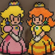 Princess Peach and Princess Daisy perler beads by Mosh Jason Productions