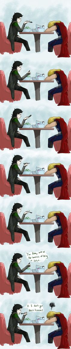 Loki and Thor go out for ice cream. Thor also ate a lot more then his little brother. << also Loki is eating mint chocolate chip ice cream which for some reason makes it really adorable? Thor X Loki, Marvel Funny, Marvel Memes, Marvel Dc Comics, Marvel Avengers, Loki God Of Mischief, Deadpool, Fandoms, Loki Laufeyson