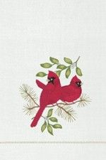 """Holiday Red Cardinal Song Birds Christmas Guest Towel 14"""" x 22"""""""