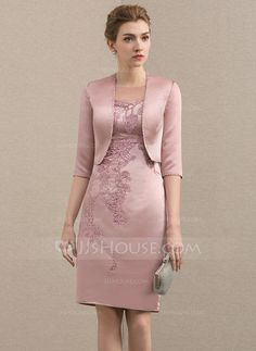 Sheath/Column Scoop Neck Knee-Length Satin Mother of the Bride Dress With Beading Appliques Lace - JJ's House