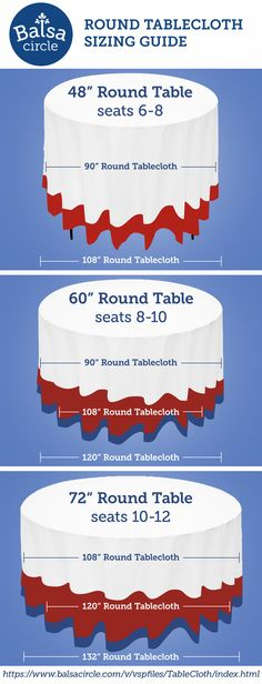 Choose the right tablecloth drop for your round tables - perfect for events and weddings! Visit our tablecloth sizing widget for more help : https://www.balsacircle.com/v/vspfiles/TableCloth/index.html