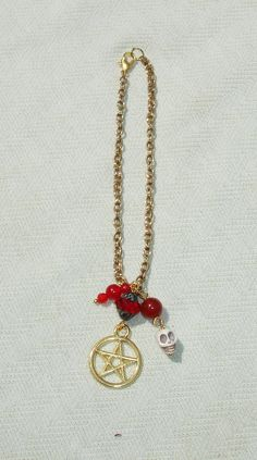 Pentagram, Skull, & Red Gemstone Traveling Rear View Mirror Car Charm - $9.99 - Handmade Accessories, Crafts and Unique Gifts by Harmonee's Magickal Creations
