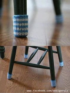 Cut the finger off a pair of dollar store gloves to make chair floor protectors.