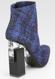 Nicholas Kirkwood - Erdem Tweed-Print Cotton Ankle Boots - love the heel Heeled Mules, Heeled Boots, Stiletto Heels, Shoes Heels, Flats, Ankle Boots, Chunky Shoes, Nicholas Kirkwood, Erdem