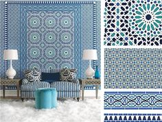 Seriously loving all this Schumacher  Nasrid Palace Mosaic in Aegean, Serallo Mosaic in Aegean, Darro Mosaic Border Aegean, Cadiz Mosaic Border in Aegean   available at walnut wallpaper #wallpaper