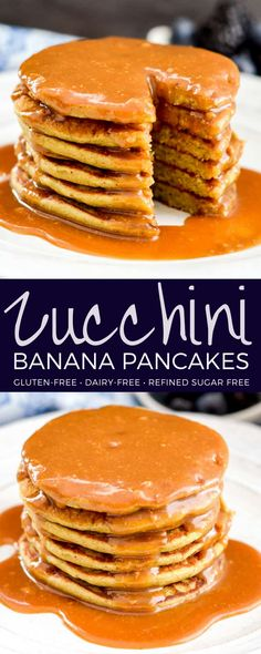 Zucchini Banana Pancakes! A super easy & healthy breakfast recipe made in your blender! Full of fruit, sneaky veggies and oats! Gluten-free, dairy-free, refined-sugar free! #oatmeal #pancakes #zucchini #banana #glutenfree #dairyfree #vitamix