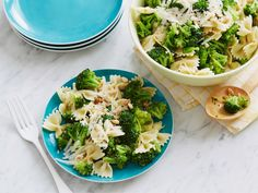 Broccoli and Bow Ties : Toss steamed broccoli and tender bow ties in a buttery sauce made with lemon juice, lemon zest and garlic. Stir in toasted pine nuts and sprinkle with freshly grated Parmesan for nutty flavor and crunch.