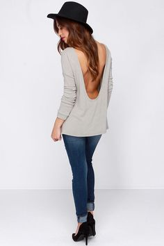 Won't Back Down Grey Long Sleeve Sweater Top at Lulus.com!