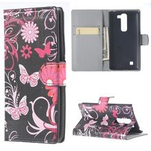 Pink butterfly magnetic leather wallet flip stand cover fit for LG L Bello D335 D331 fashion phone capas for lg Prime D337 cases