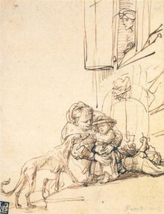 The Athenaeum - A Woman with a Child Frightened by a Dog (Rembrandt van Rijn - ) Rembrandt Etchings, Rembrandt Art, Rembrandt Drawings, Storyboard, Drawing Sketches, Art Drawings, Travel Sketchbook, Dutch Golden Age, Dutch Painters