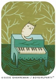 CAT PIANO art print by Susie Ghahremani, cat kitty piano - 5x7 music nursery artwork - musical animals. $20.00, via Etsy.