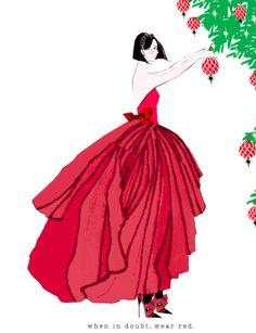 When in doubt, wear red. (Verrier print)