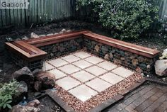 Gabion with timber seats http://www.gabion1.com