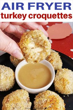 You are going to want to make extra food, just to make these delicious Air Fryer Turkey Croquettes with Thanksgiving or Christmas leftovers. Air Fyer Recipes, Air Fryer Recipes Videos, Air Fryer Recipes Easy, Fall Recipes, Holiday Recipes, Oven Recipes, Holiday Foods, Holiday Ideas, Chicken Recipes