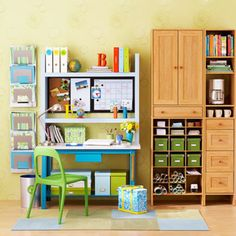 Create a permanent space for supplies in the kitchen or family room by stocking containers with pens, highlighters and such, says Wright. Hang a dry-erase board nearby so that kids can track when big projects and term papers are due. - FamilyCircle.com