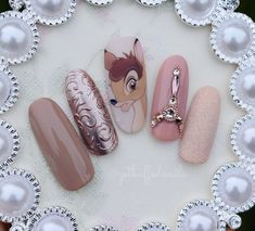 NagelDesign Elegant ( Bambi… One of my favour… ) – NagelDesign Elegant ♥ Disney Acrylic Nails, Best Acrylic Nails, Swag Nails, My Nails, Disneyland Nails, Super Cute Nails, Silver Nails, Dream Nails, Cute Nail Art